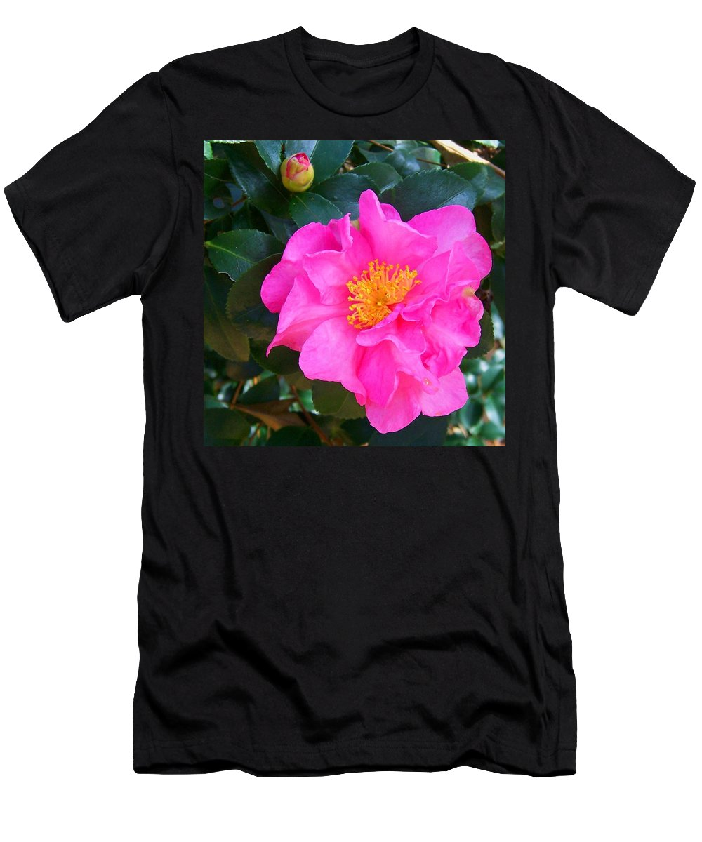 Camelia Men's T-Shirt (Athletic Fit) featuring the photograph Firey Pink Camelia by Laurie Paci