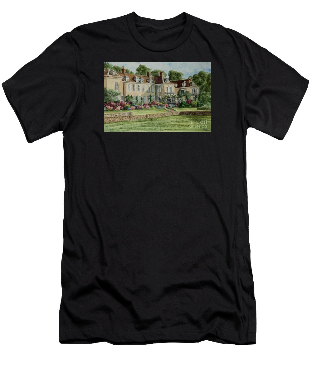 England Men's T-Shirt (Athletic Fit) featuring the painting Firle Place England by Charlotte Blanchard