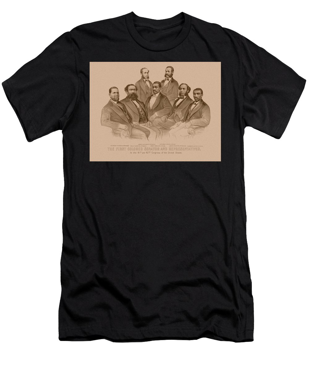 Black History Men's T-Shirt (Athletic Fit) featuring the drawing First Colored Senator And Representatives by War Is Hell Store