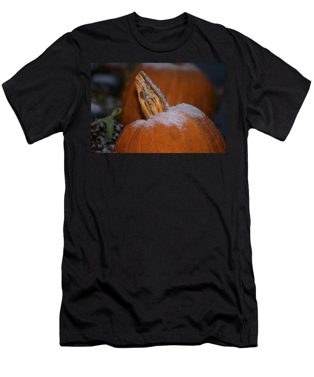 Pumpkin Print Men's T-Shirt (Athletic Fit) featuring the photograph First Frost by Deborah M Rinaldi