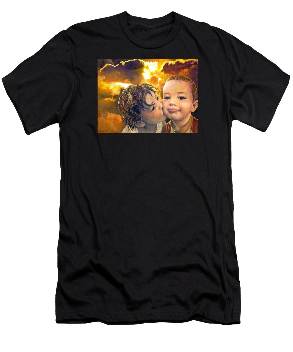 Children Men's T-Shirt (Athletic Fit) featuring the painting First Kiss by Michael Durst
