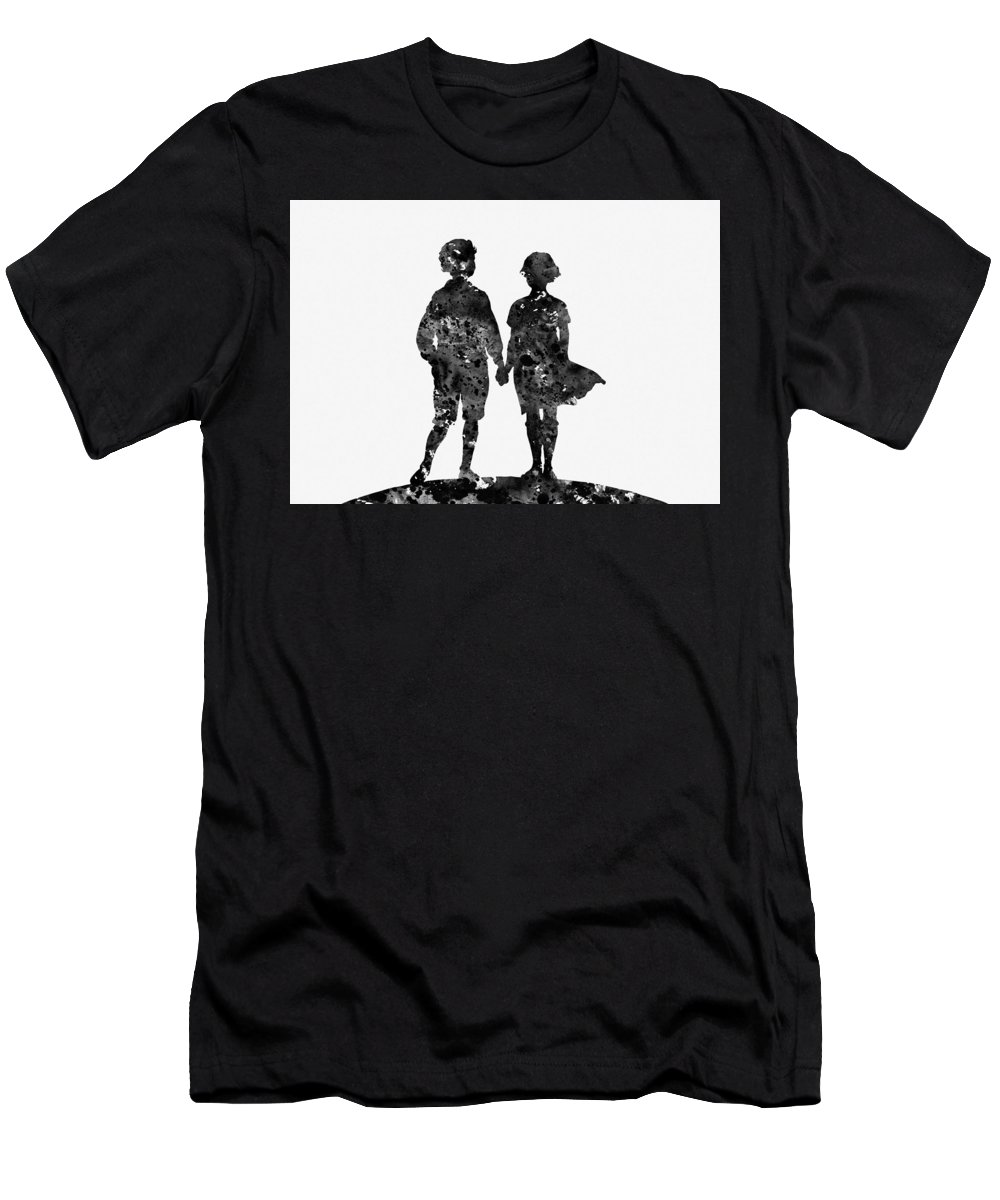 First Love Men's T-Shirt (Athletic Fit) featuring the digital art First Love-black by Erzebet S