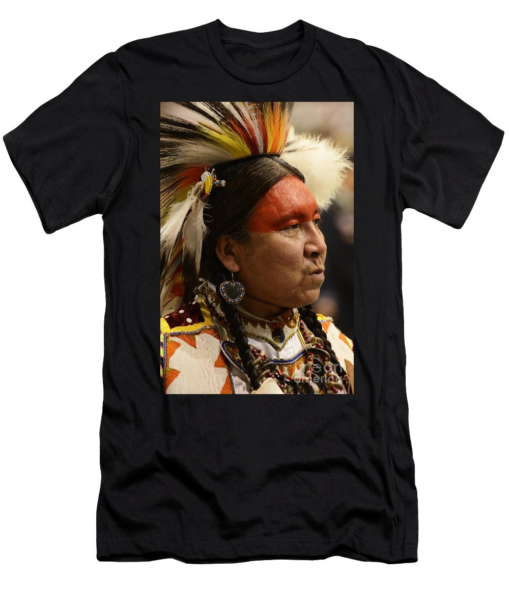Pow Wow Men's T-Shirt (Athletic Fit) featuring the photograph Pow Wow First Nations Man Portrait 1 by Bob Christopher