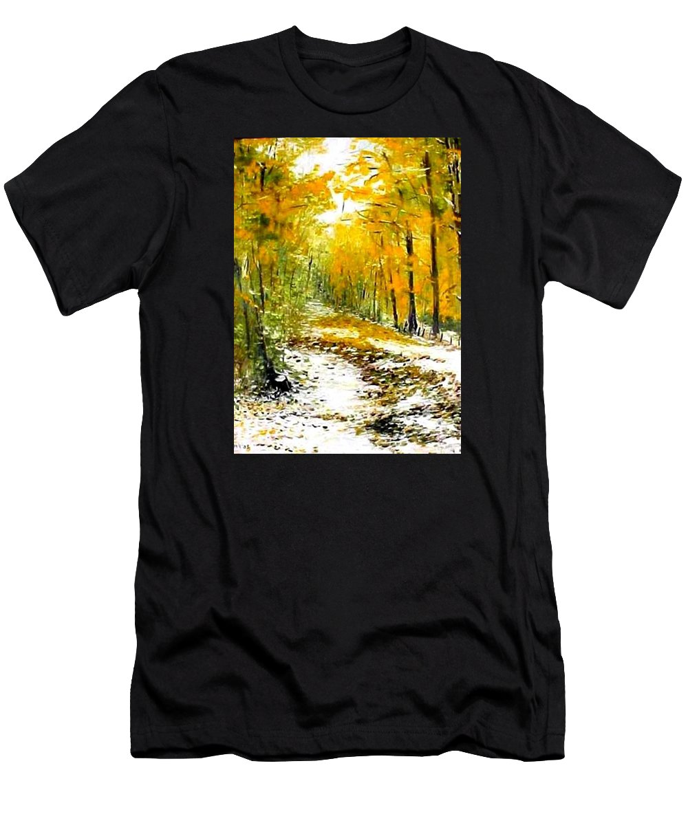 Landscape Men's T-Shirt (Athletic Fit) featuring the painting First Snow by Boris Garibyan