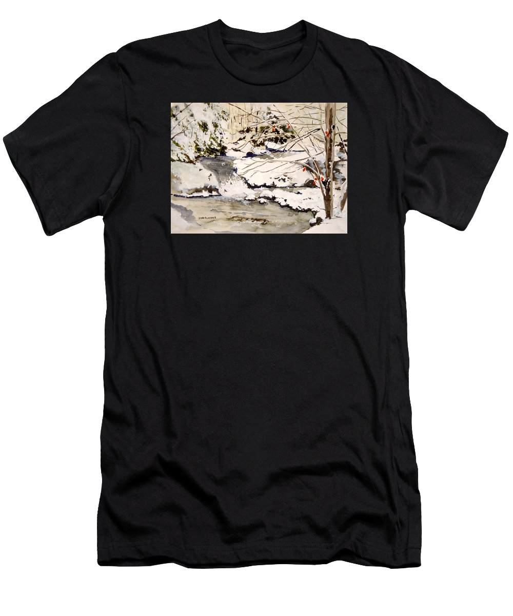 Winter Scene Men's T-Shirt (Athletic Fit) featuring the painting First Snowfall by Jean Blackmer