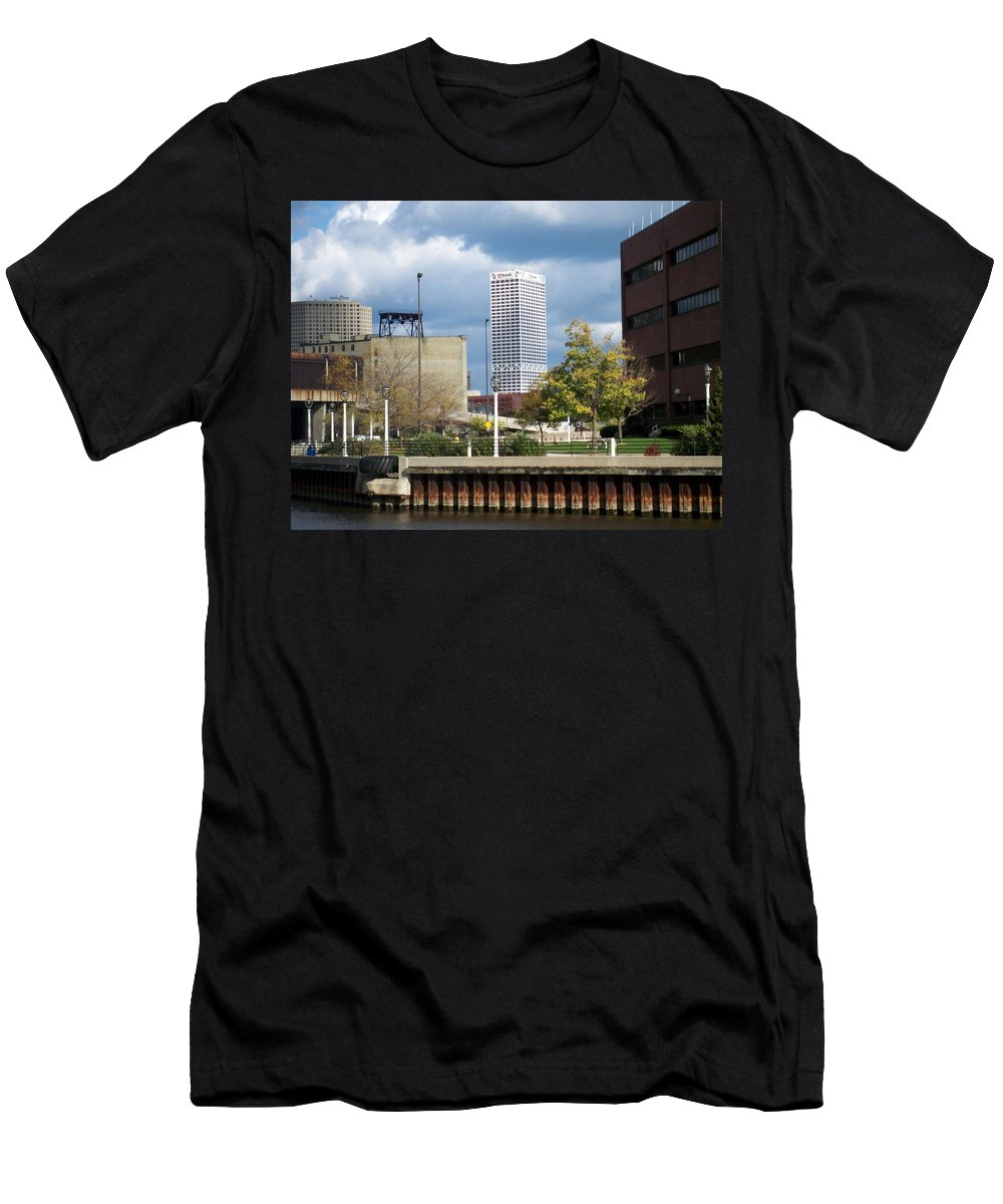 First Star Bank Men's T-Shirt (Athletic Fit) featuring the photograph First Star View From River by Anita Burgermeister