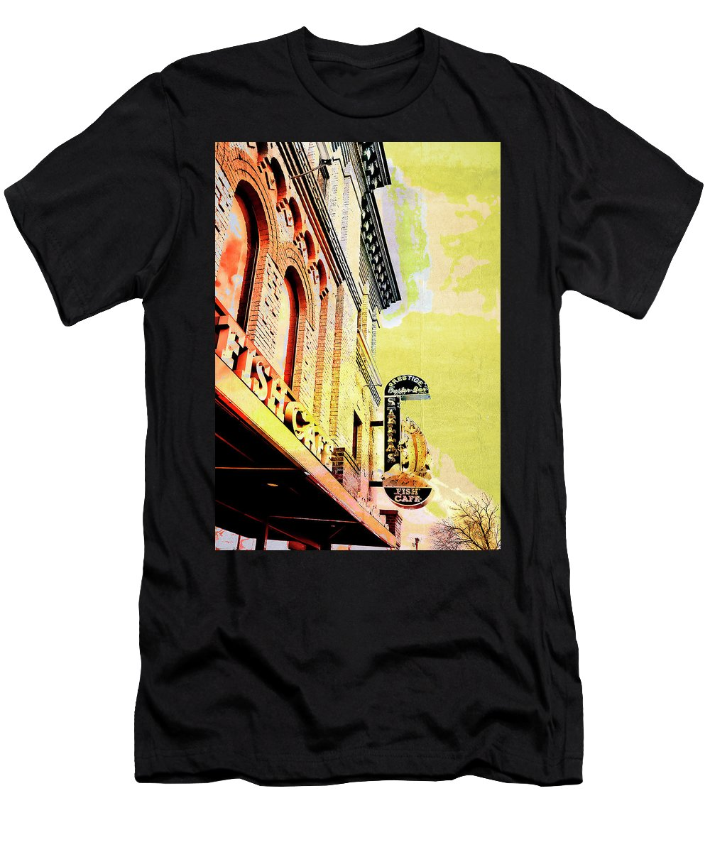 Uptown Men's T-Shirt (Athletic Fit) featuring the digital art Fish Cafe by Susan Stone