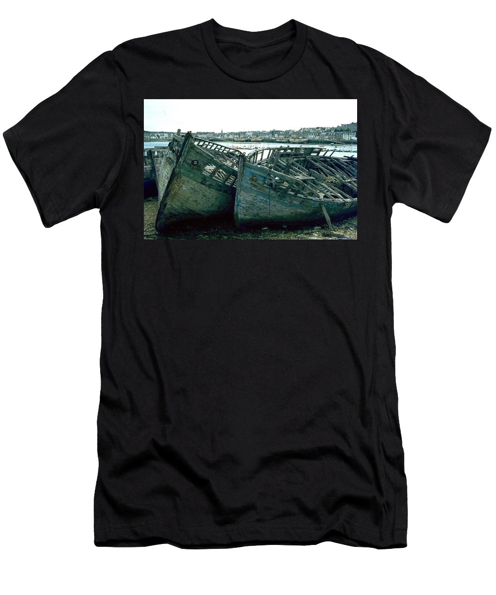Fisher Boats Men's T-Shirt (Athletic Fit) featuring the photograph Fisher Boats by Flavia Westerwelle
