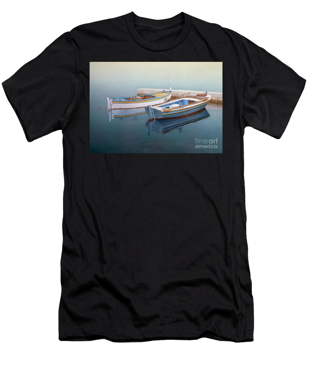 Realistic Marine Paintings Men's T-Shirt (Athletic Fit) featuring the painting Coastal Wall Art, Fisherman In A Calm, Fishing Boat Paintings by Rinaldo Skalamera