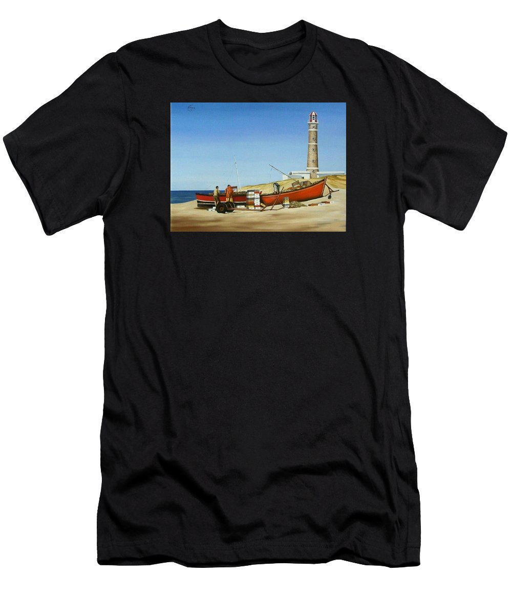Lighthouse Fishermen Sea Seascape Men's T-Shirt (Athletic Fit) featuring the painting Fishermen By Lighthouse by Natalia Tejera