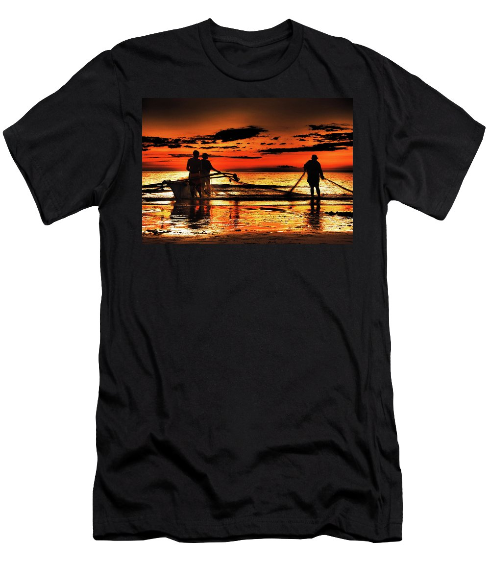 Fishermen Men's T-Shirt (Athletic Fit) featuring the photograph Fishermen by Cesar Caina