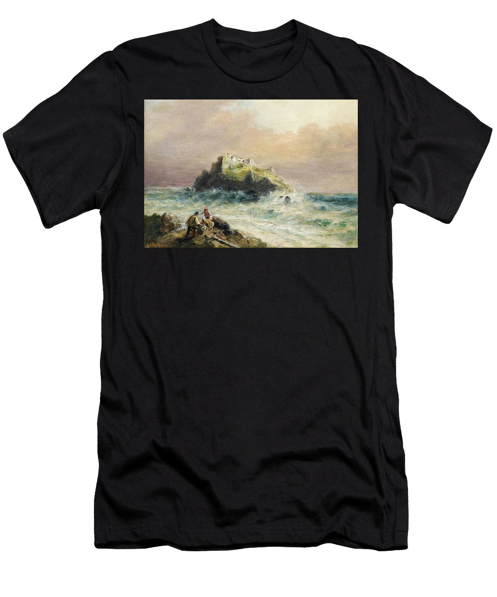 Sarah Louise Kilpack - Fishermen On The Rocks Before A Castle Men's T-Shirt (Athletic Fit) featuring the painting Fishermen On The Rocks Before A Castle by MotionAge Designs