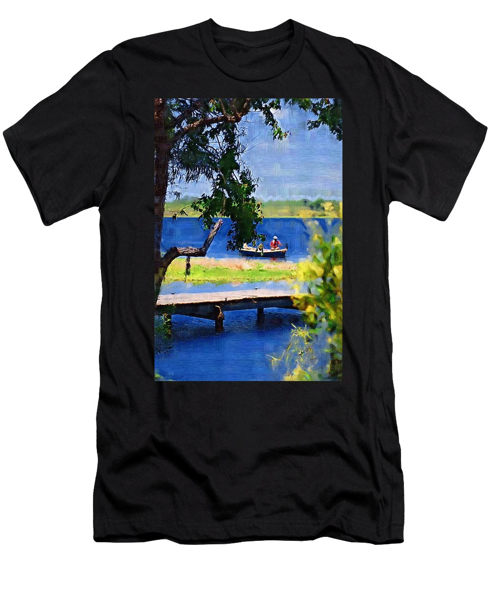 Ponds Men's T-Shirt (Athletic Fit) featuring the photograph Fishin by Donna Bentley