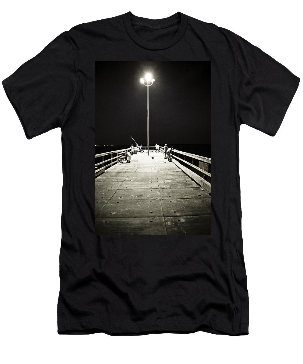 Americana Men's T-Shirt (Athletic Fit) featuring the photograph Fishing At Night by Marilyn Hunt