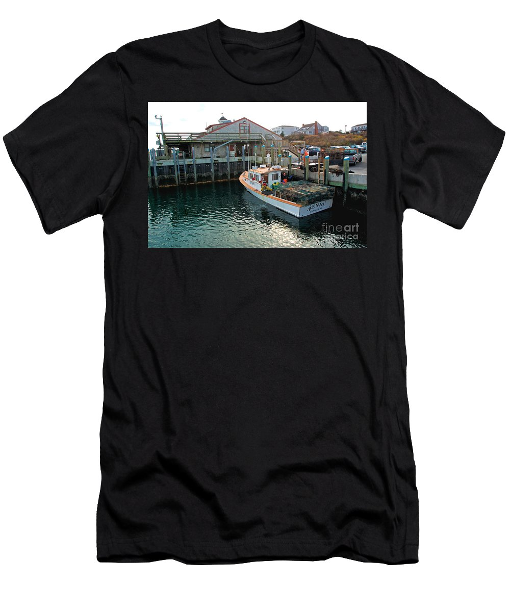 Fish Pier Men's T-Shirt (Athletic Fit) featuring the photograph Fishing Boat At Chatham Fish Pier by Matt Suess