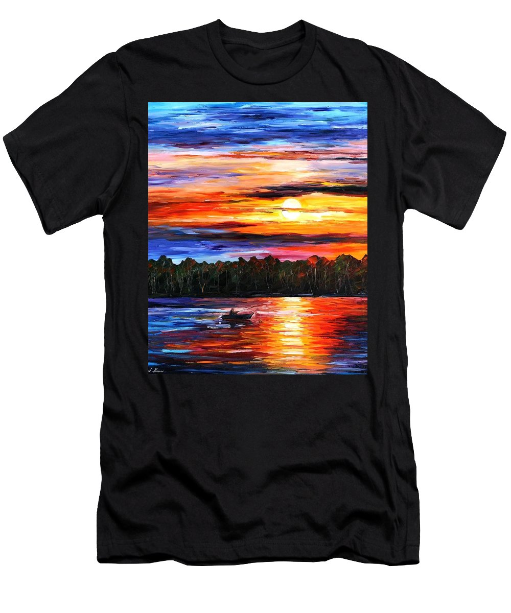 Seascape Men's T-Shirt (Athletic Fit) featuring the painting Fishing By The Sunset by Leonid Afremov