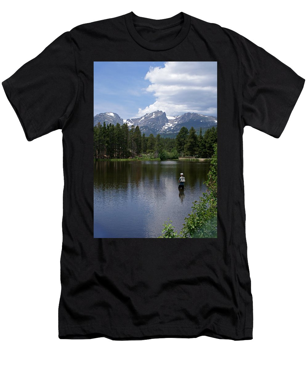 Fishing Men's T-Shirt (Athletic Fit) featuring the photograph Fishing In Colorado by Heather Coen