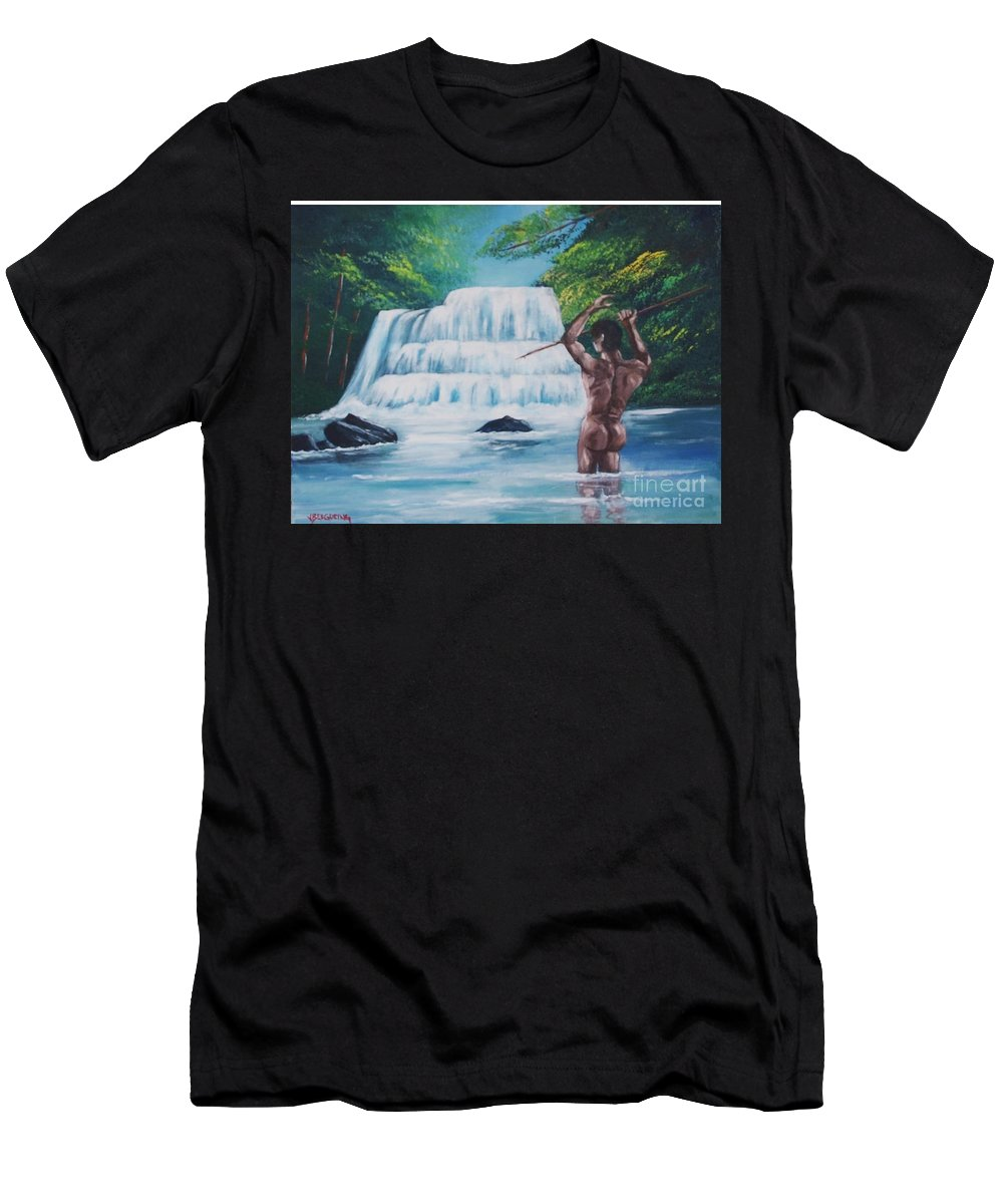 River Men's T-Shirt (Athletic Fit) featuring the painting Fishing In The River by Jean Pierre Bergoeing
