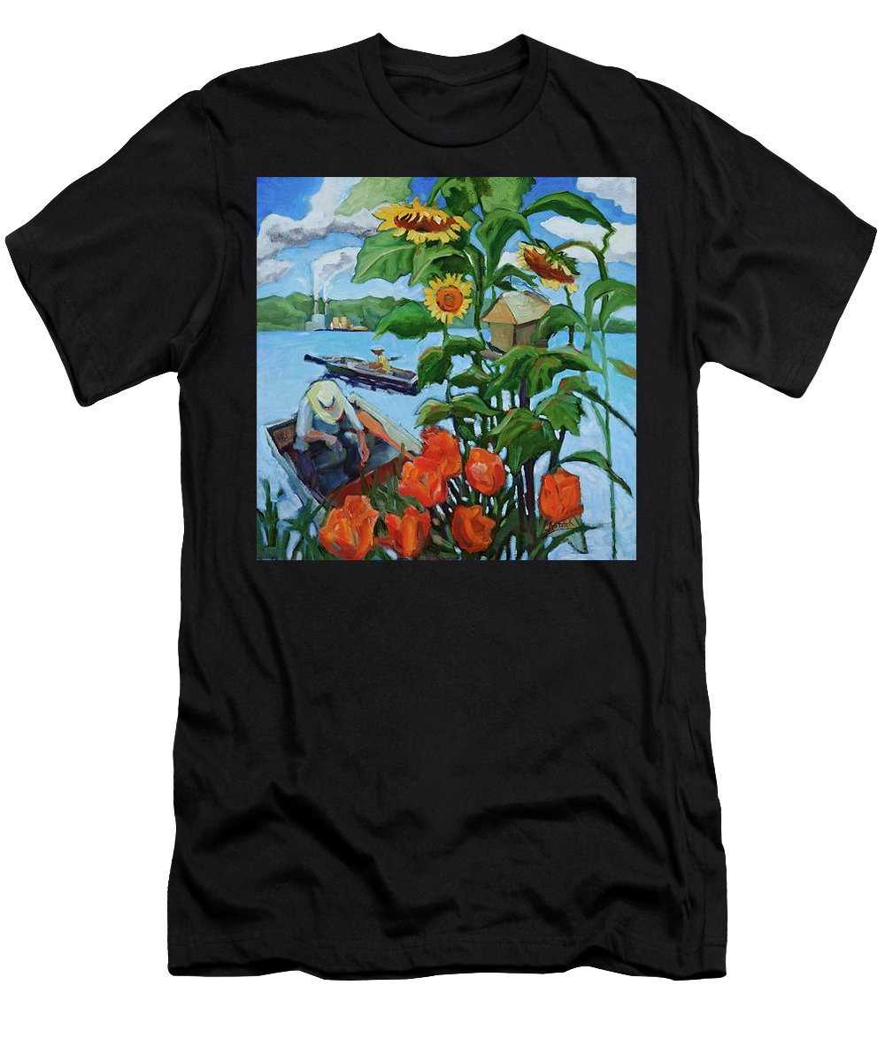 Painting Men's T-Shirt (Athletic Fit) featuring the painting Fishing by Jean Stark