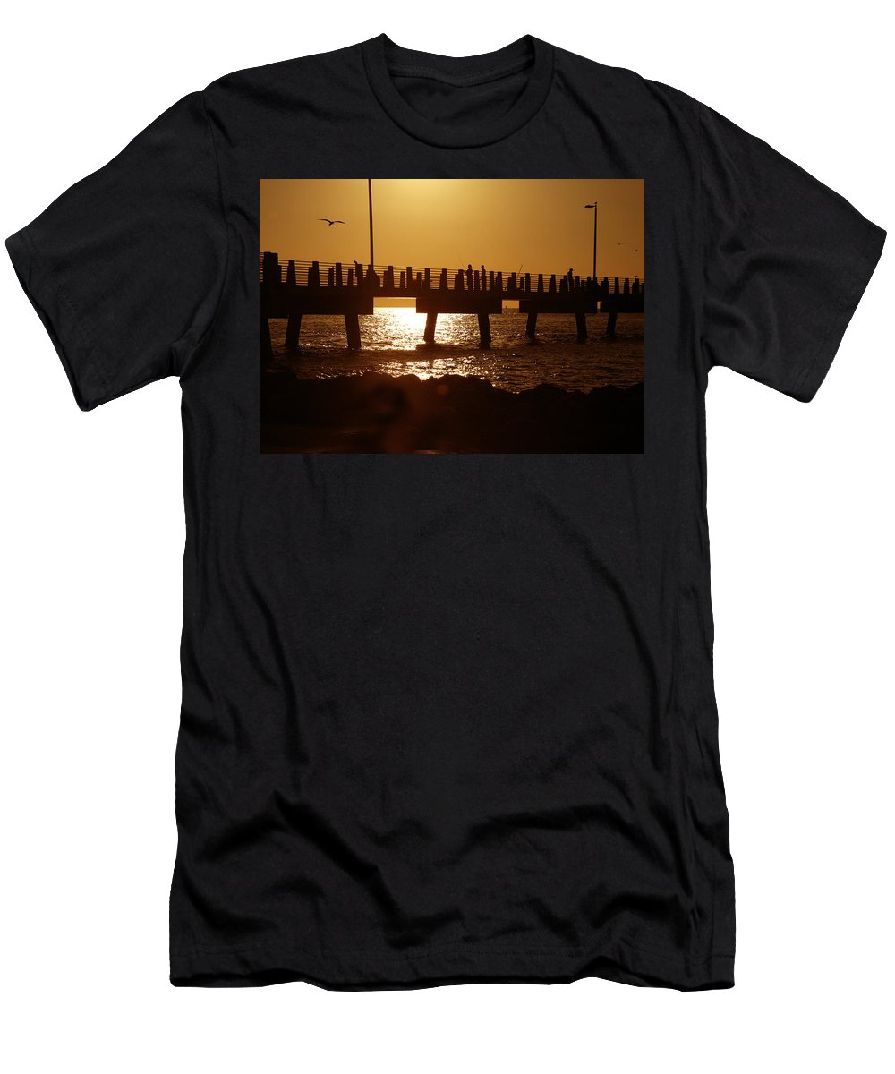 Fort De Soto Men's T-Shirt (Athletic Fit) featuring the photograph Fishing Off The Pier At Fort De Soto At Dusk by Mal Bray