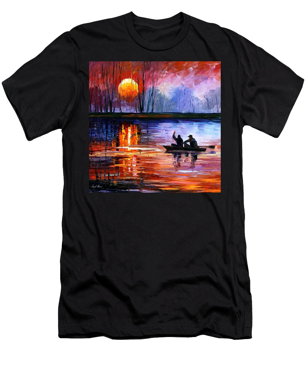 Seascape Men's T-Shirt (Athletic Fit) featuring the painting Fishing On The Lake by Leonid Afremov