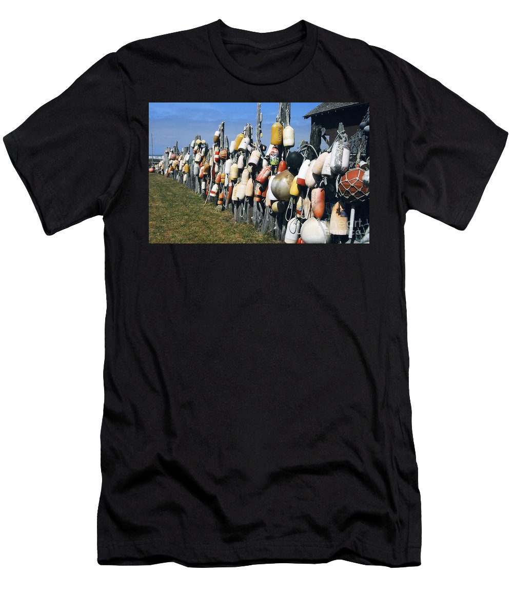 Buoys Men's T-Shirt (Athletic Fit) featuring the photograph Fishing Village by David Lee Thompson