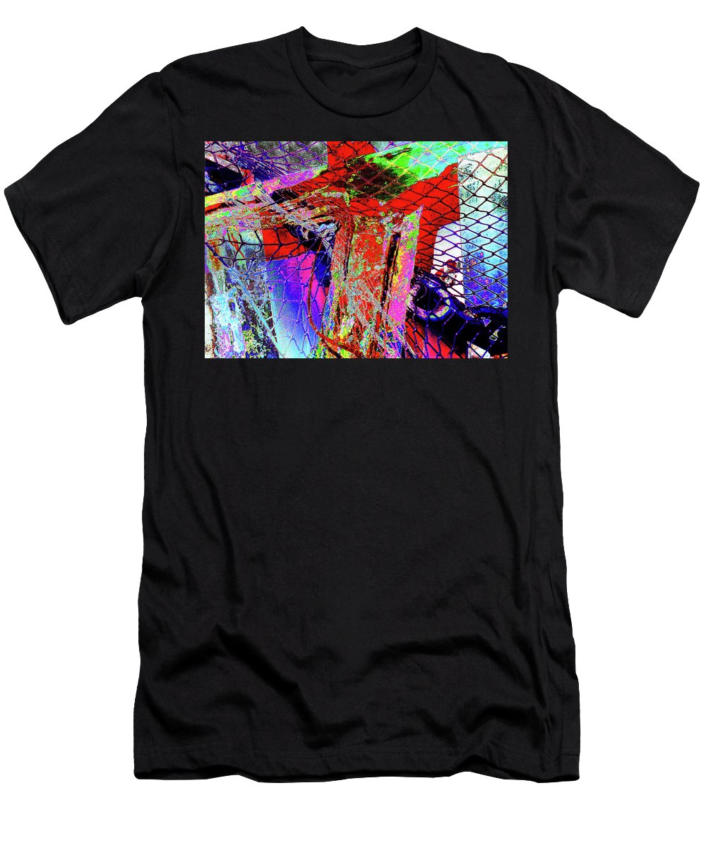 Fishnet Men's T-Shirt (Athletic Fit) featuring the photograph Fishnet Fantasy, A Collage Between Maine And Florida. by Lila Bahl