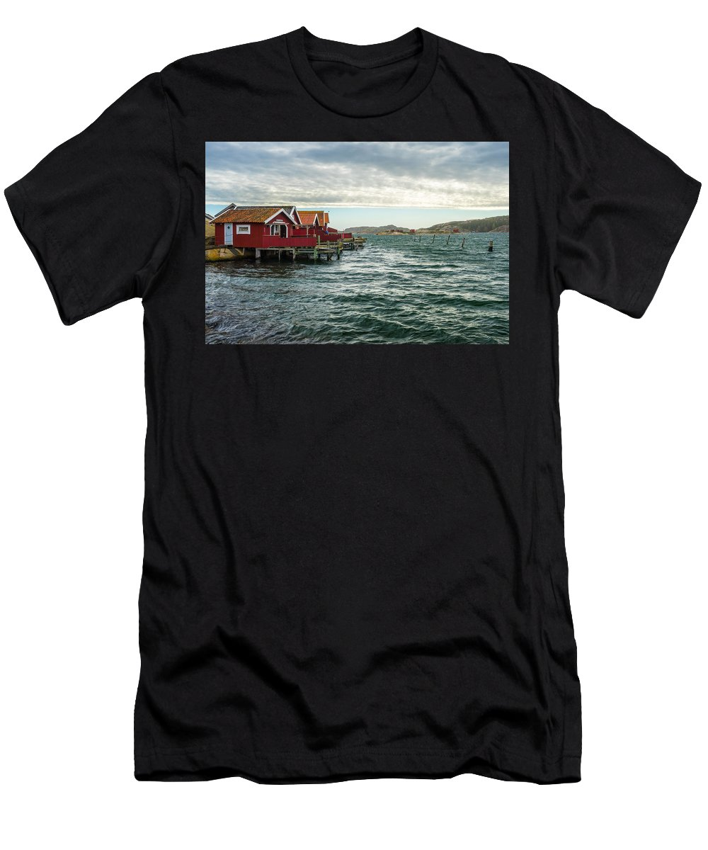 Fisherman Men's T-Shirt (Athletic Fit) featuring the photograph Fjallbacka Huts by James Billings