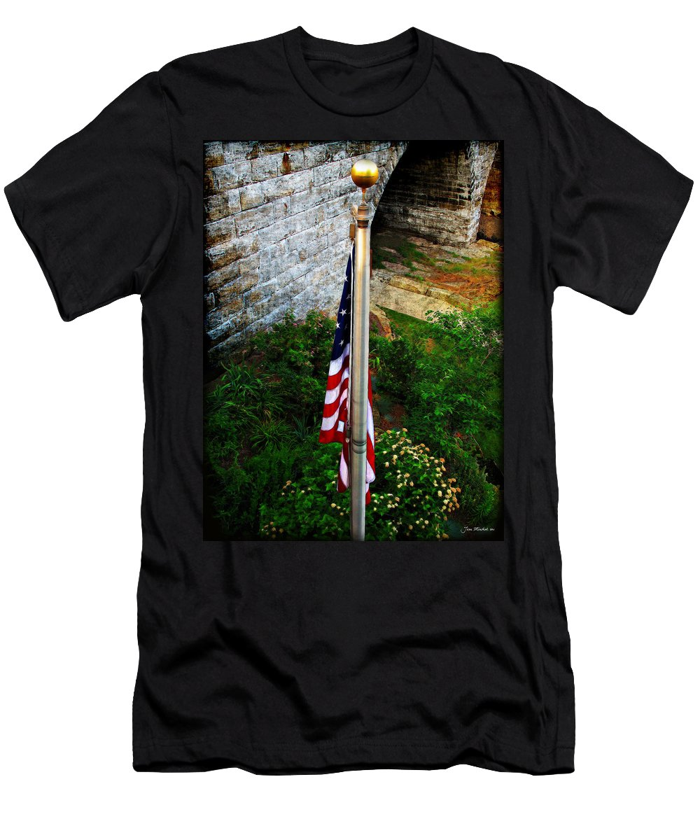 America Men's T-Shirt (Athletic Fit) featuring the photograph Flag Day by Joan Minchak