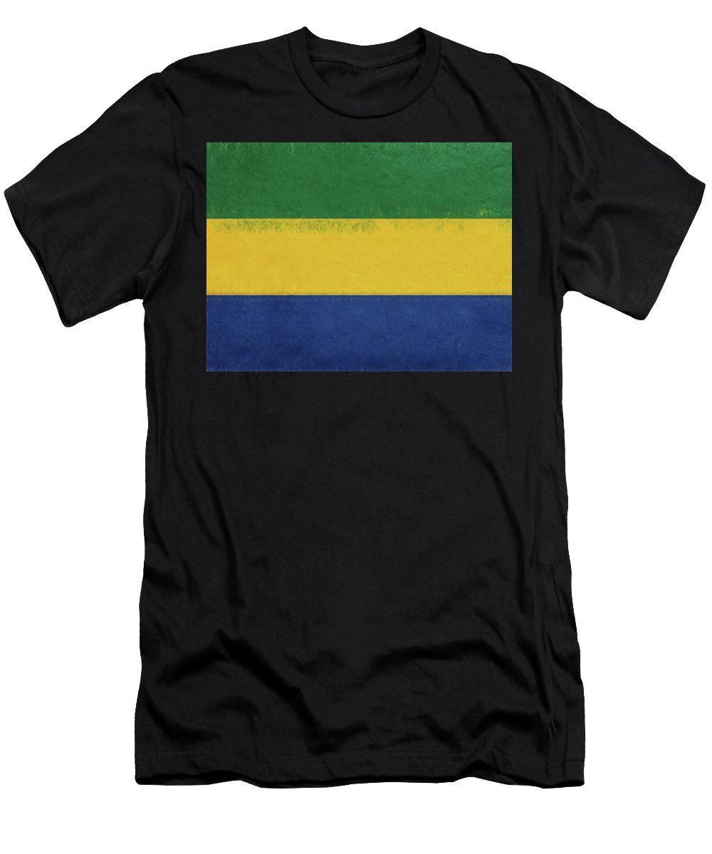 Africa Men's T-Shirt (Athletic Fit) featuring the digital art Flag Of Gabon Grunge. by Roy Pedersen