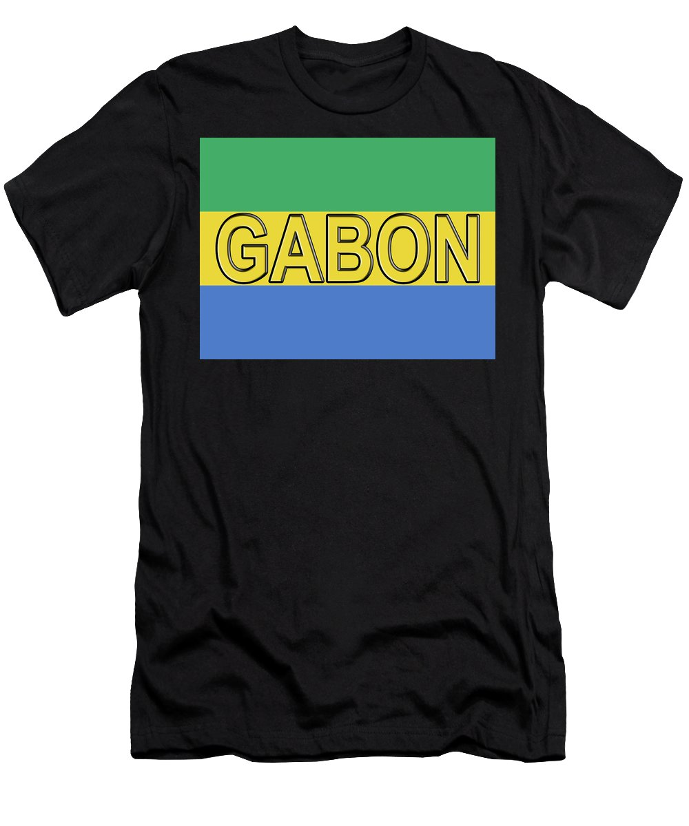 Africa Men's T-Shirt (Athletic Fit) featuring the digital art Flag Of Gabon Word. by Roy Pedersen