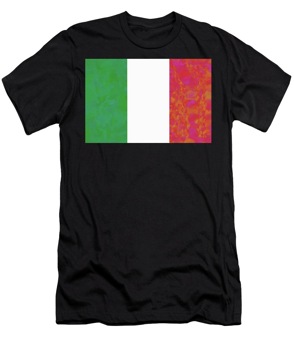 Italy Men's T-Shirt (Athletic Fit) featuring the digital art Flag Of Italy Colorful by Roy Pedersen