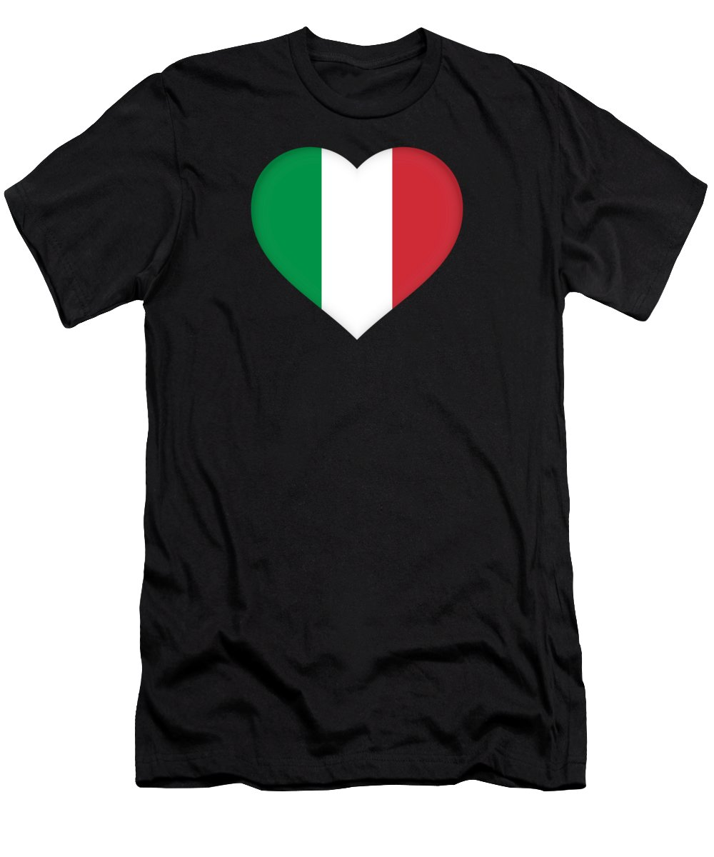 Italia Men's T-Shirt (Athletic Fit) featuring the digital art Flag Of Italy Heart by Roy Pedersen