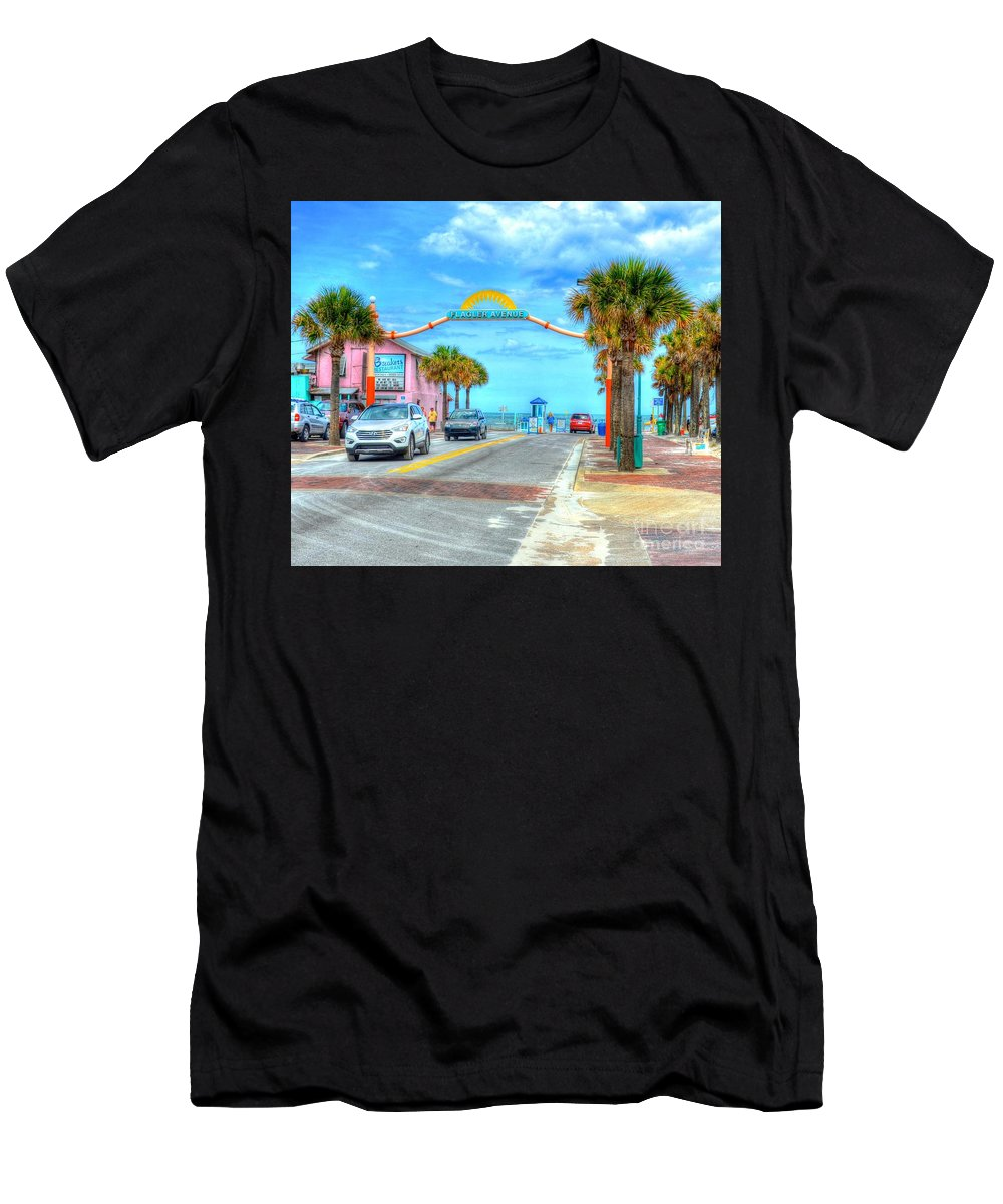 Beach Men's T-Shirt (Athletic Fit) featuring the photograph Flagler Avenue by Debbi Granruth