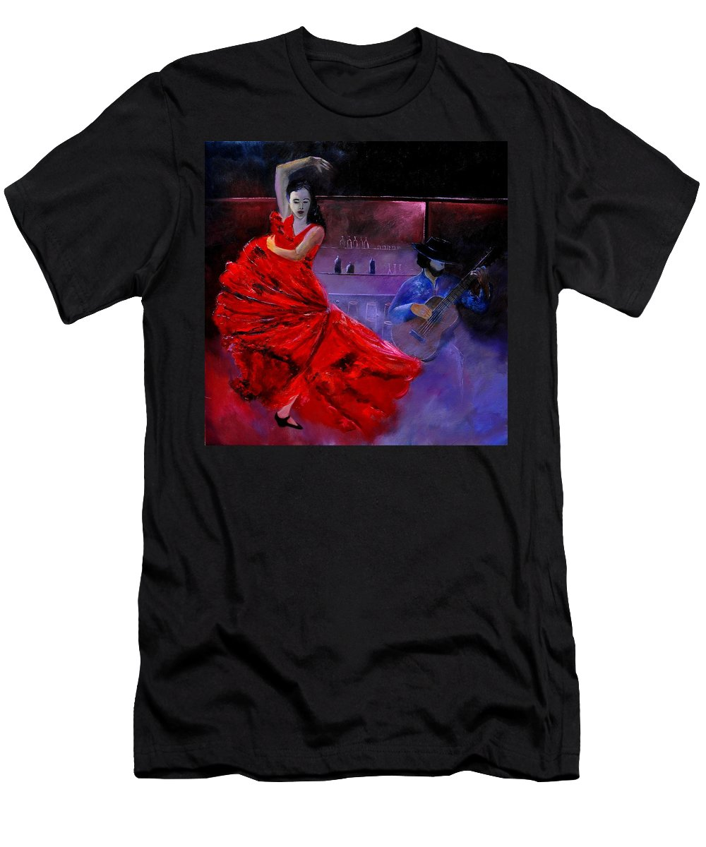 Flamenco Men's T-Shirt (Athletic Fit) featuring the painting Flamenco 88 by Pol Ledent