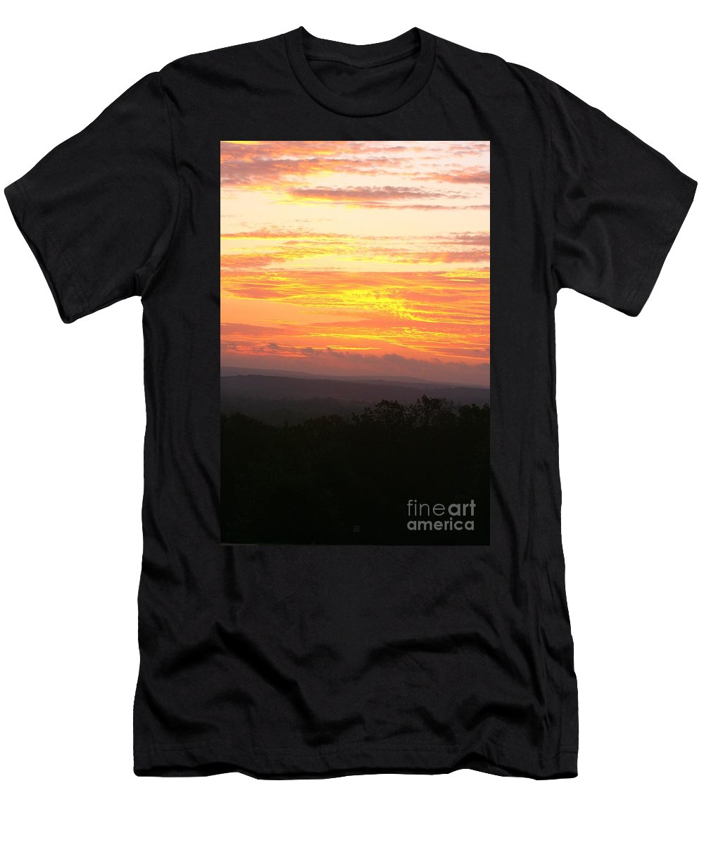 Sunrise Men's T-Shirt (Athletic Fit) featuring the photograph Flaming Autumn Sunrise by Nadine Rippelmeyer