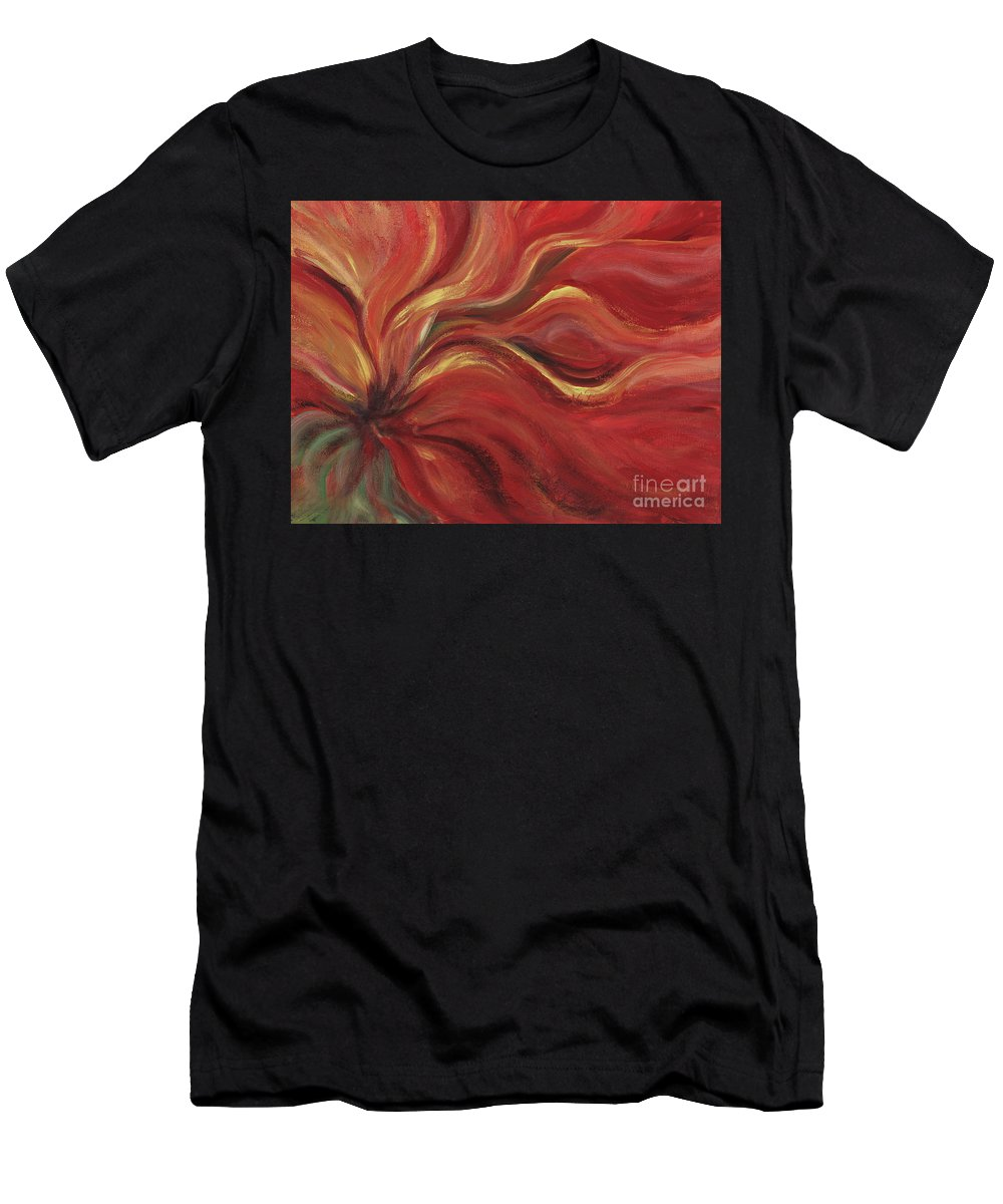 Red Men's T-Shirt (Athletic Fit) featuring the painting Flaming Flower by Nadine Rippelmeyer