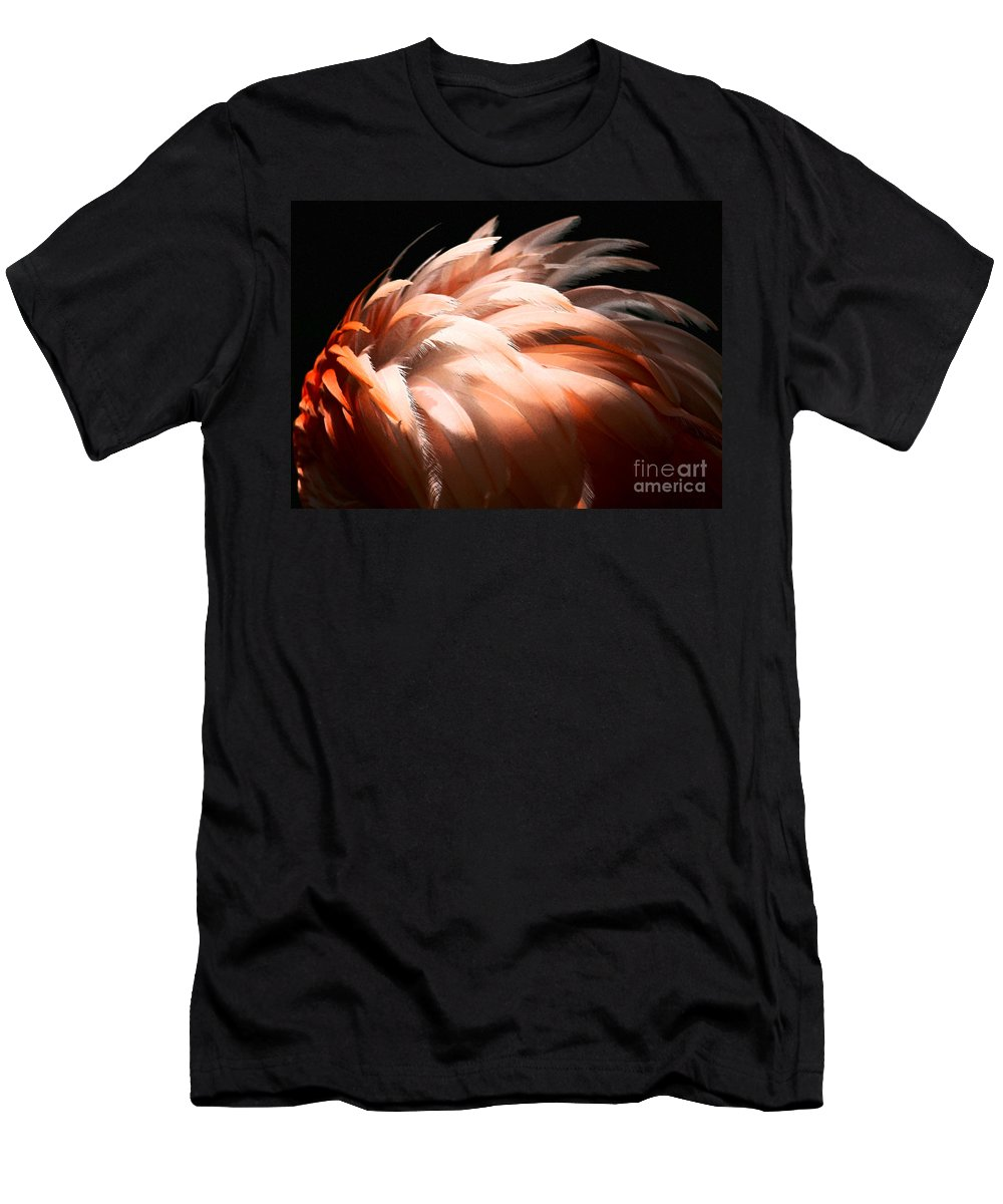 Feathers Men's T-Shirt (Athletic Fit) featuring the photograph Flamingo Feathers by Sabrina L Ryan