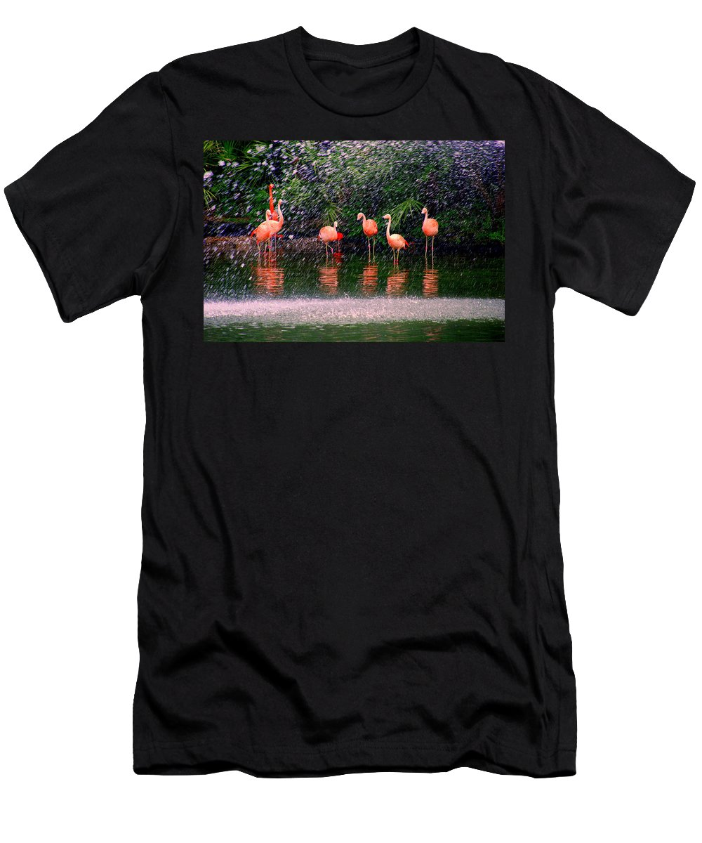 Flamingos Men's T-Shirt (Athletic Fit) featuring the photograph Flamingos II by Susanne Van Hulst