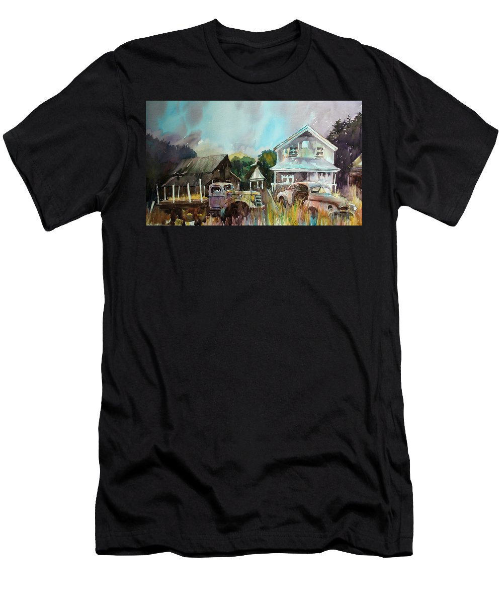 Dilapidated House T-Shirt featuring the painting Flatdeck at the Homestead by Ron Morrison