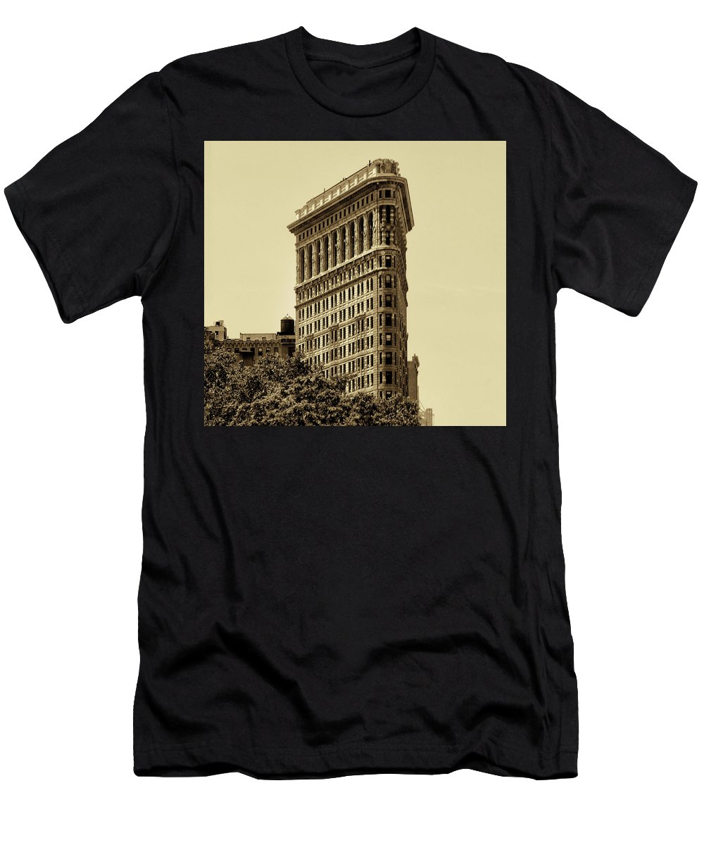 Flatirron Men's T-Shirt (Athletic Fit) featuring the photograph Flatiron Building In Sepia by Bill Cannon