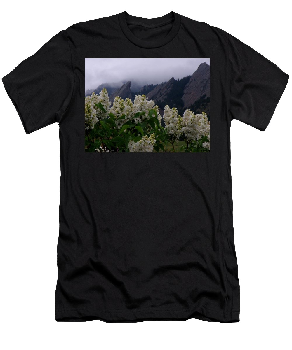 Flatirons Boulder Colorado Lilacs Flowers Spring Landscapes Misty Spring T-Shirt featuring the photograph Flatirons white lilacs by George Tuffy
