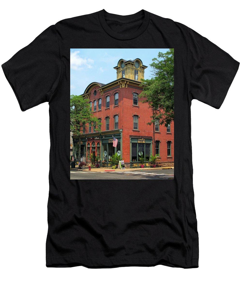 Flemington Men's T-Shirt (Athletic Fit) featuring the photograph Flemington Main Street by Dave Mills