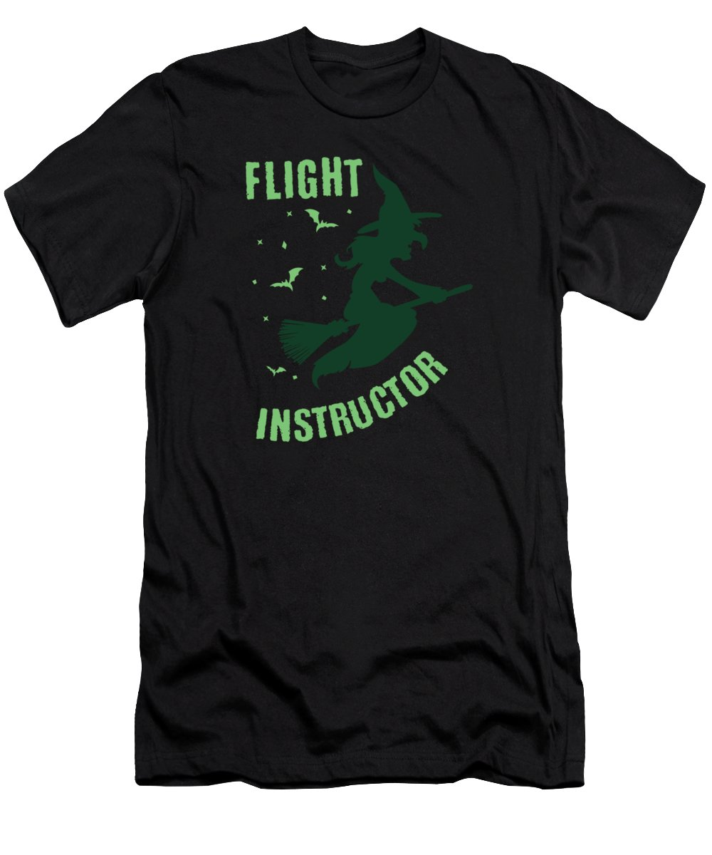 Flight-instructor-witch Men's T-Shirt (Athletic Fit) featuring the digital art Flight Instructor Witch Halloween Costume by Tom Giant