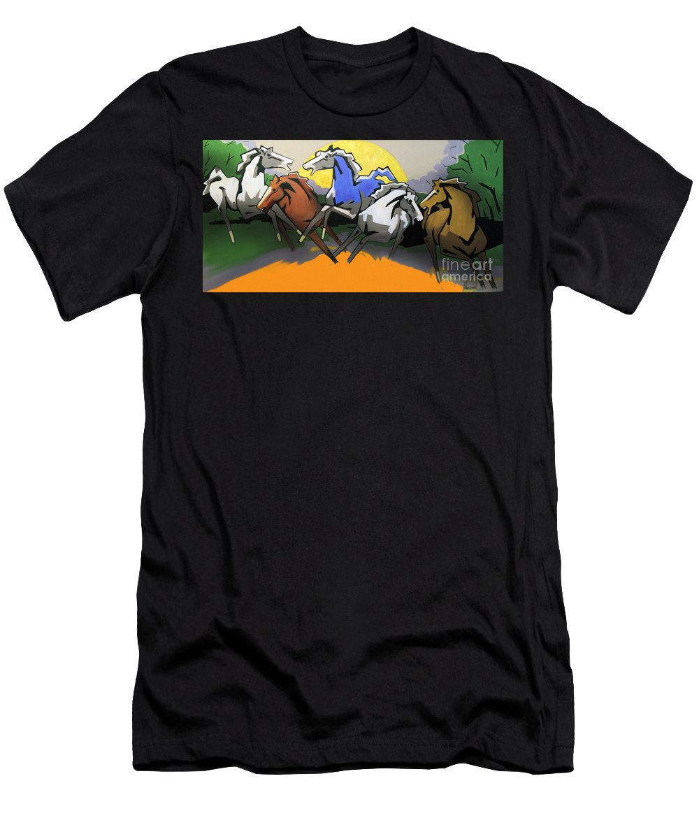 Flying Horses Men's T-Shirt (Athletic Fit) featuring the painting Flight Of The Horses by Masoud Farshchi