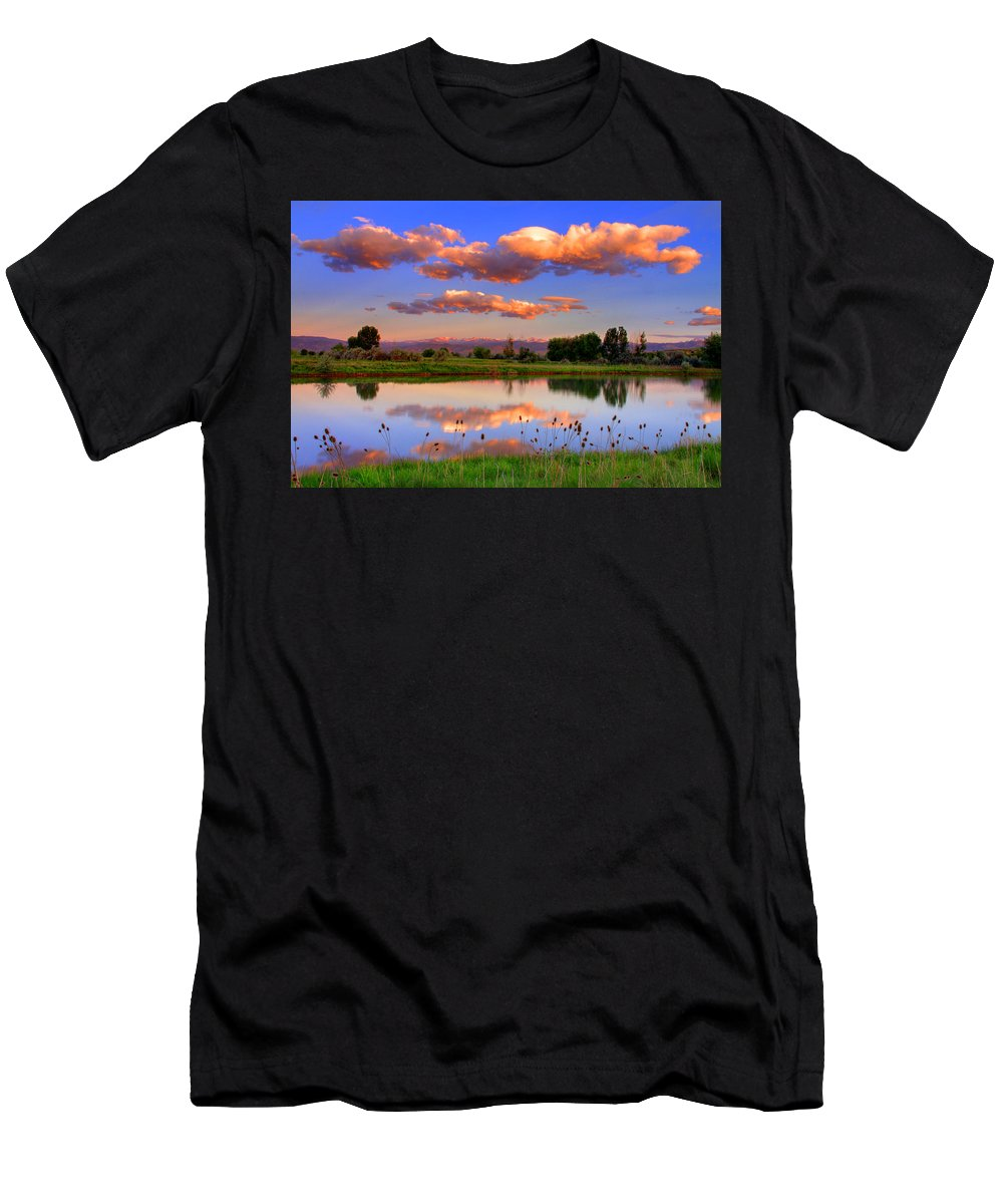 Rocky Mountains Men's T-Shirt (Athletic Fit) featuring the photograph Floating Clouds And Reflections by Scott Mahon