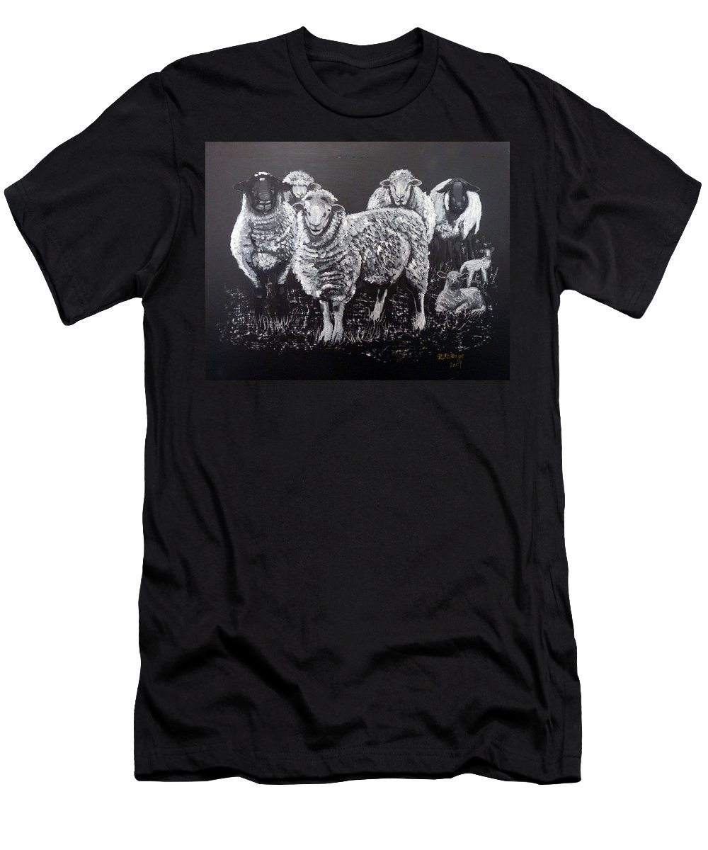 Flock Men's T-Shirt (Athletic Fit) featuring the painting Flock Of Sheep by Richard Le Page
