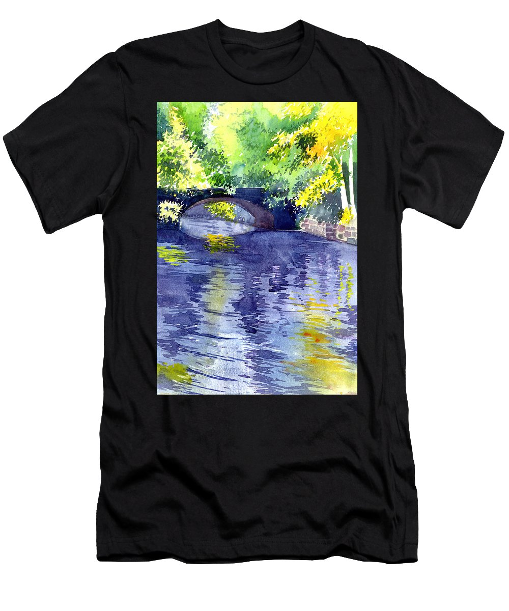 Nature Men's T-Shirt (Athletic Fit) featuring the painting Floods by Anil Nene