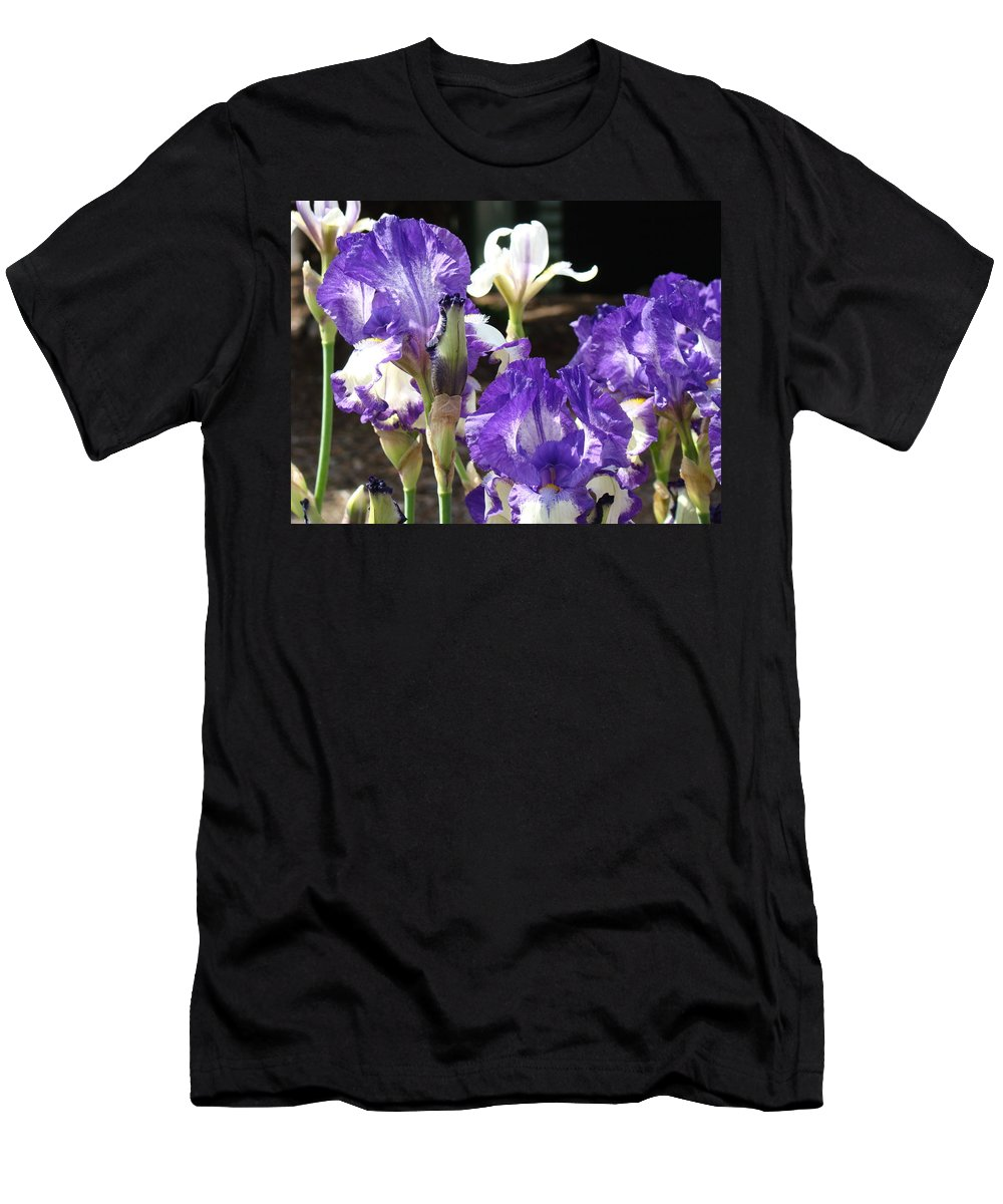 �irises Artwork� Men's T-Shirt (Athletic Fit) featuring the photograph Flora Bota Irises Purple White Iris Flowers 29 Iris Art Prints Baslee Troutman by Baslee Troutman