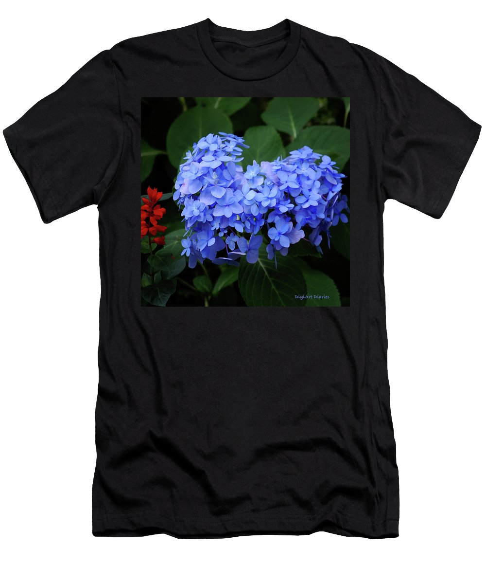 Flowers Men's T-Shirt (Athletic Fit) featuring the digital art Floral Duet by DigiArt Diaries by Vicky B Fuller